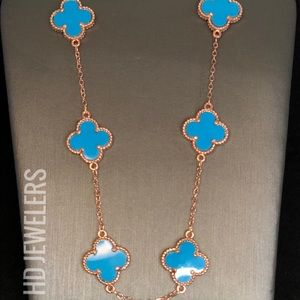 Turquoise 925 Silver 10 Clover Rose Gold Necklace